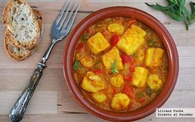 Cod with saffron and prawns, a Spanish Easter recipe